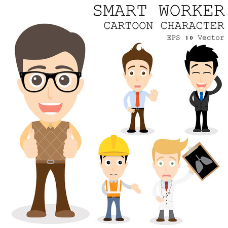 Personaje de dibujos animados trabajador inteligente