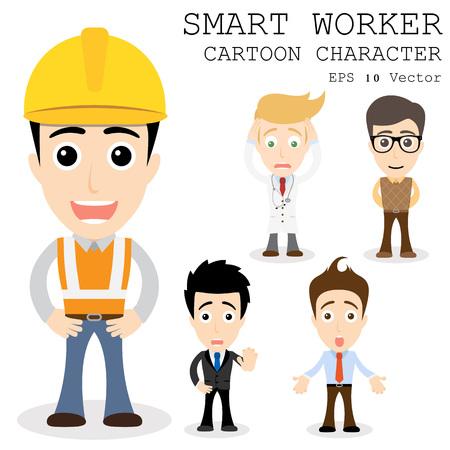 Smart worker cartoon character e  Ilustracja