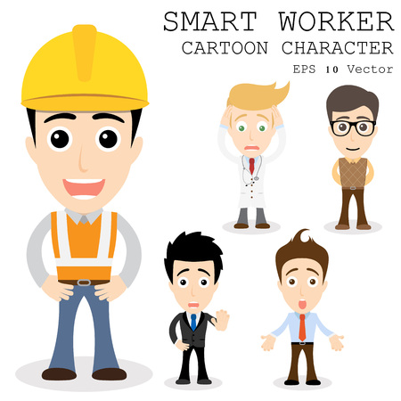 safety glasses: Smart worker cartoon character e  Illustration