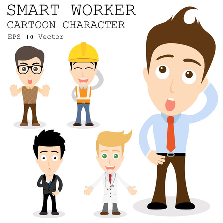 Smart worker cartoon character   Vector