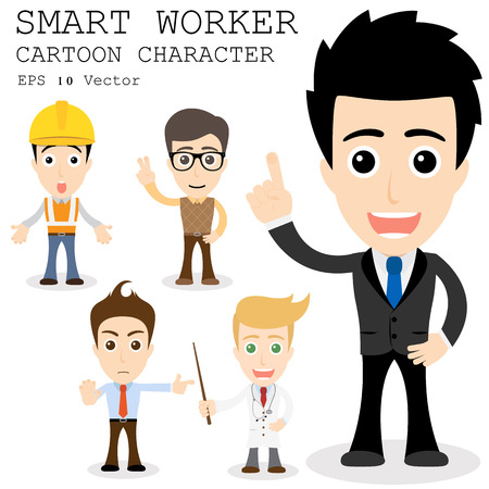 young businessman: Smart worker cartoon character