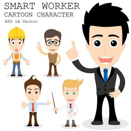 young worker: Smart worker cartoon character