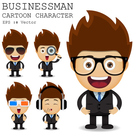 3D glasses: Businessman cartoon character Illustration