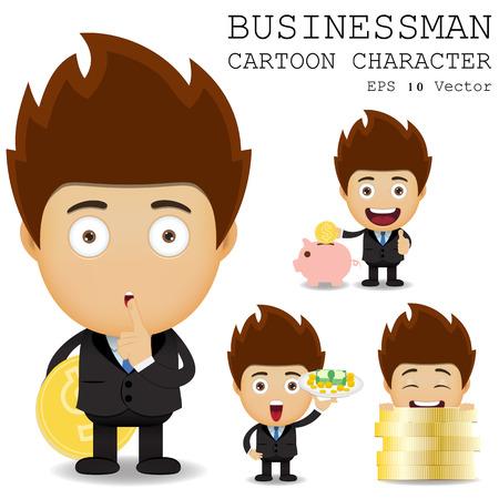 paying bills: Businessman cartoon character