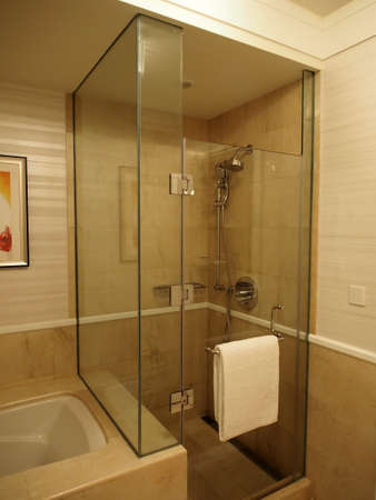 shower stall: glass enclosed shower stall in bathroom