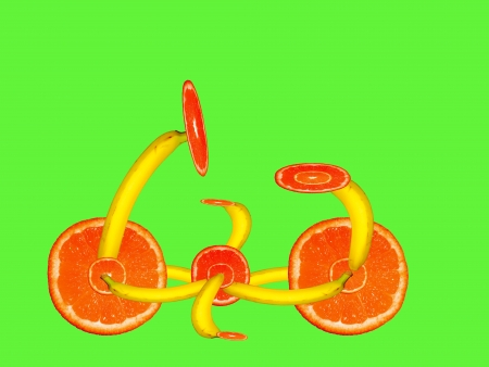 bycicle: bycicle made of fruits