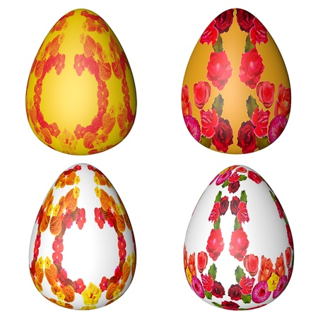 batch: batch of motley Easter eggs on a white background