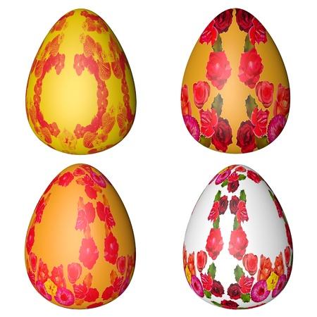batch: lote de huevos de Pascua multicolores sobre un fondo blanco Foto de archivo