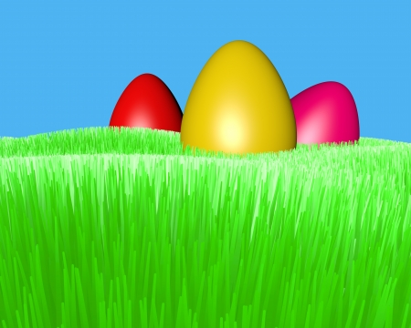 motley Easter eggs on a green grass lawn Stock Photo - 18545030