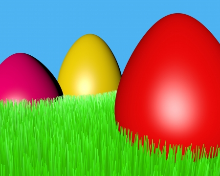 motley Easter eggs on a green grass lawn Stock Photo - 18545015