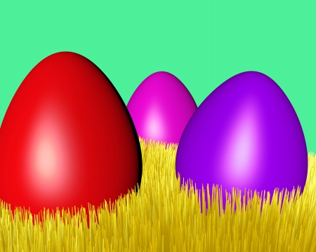 motley Easter eggs on a yellow grass lawn photo