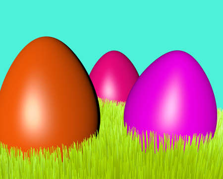 motley Easter eggs on a green grass lawn photo