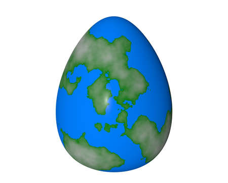 motley Easter egg on a white background earth style photo