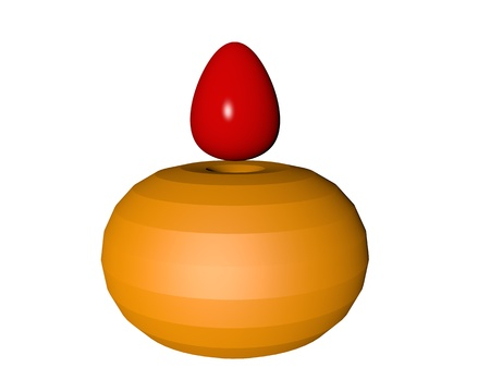 levitating: motley easter egg levitating on a white background Stock Photo