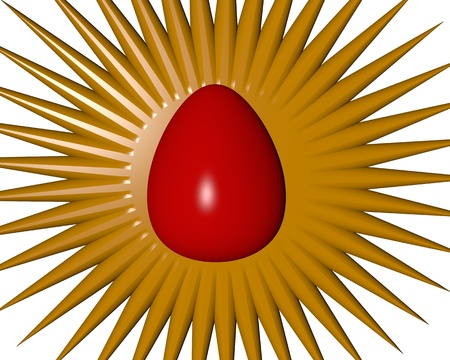 motley Easter egg with golden halo photo