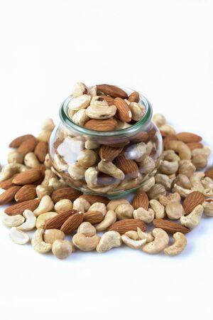 microelements: assorted various nuts in a jar macro