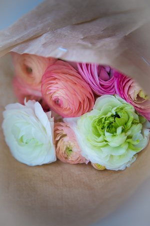craft paper: ranunculus bouquet on craft paper wrapping