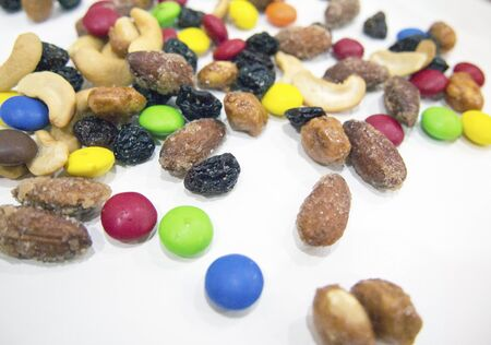 Trail mix of colorful candy and nuts