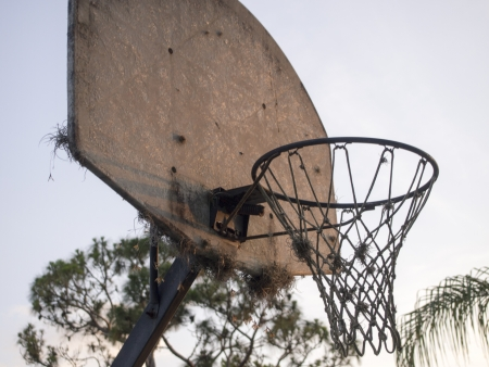 Basketball goal with lots of wear and tear  Banco de Imagens
