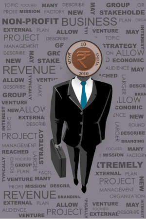 businessman surrounded from the business word cloud