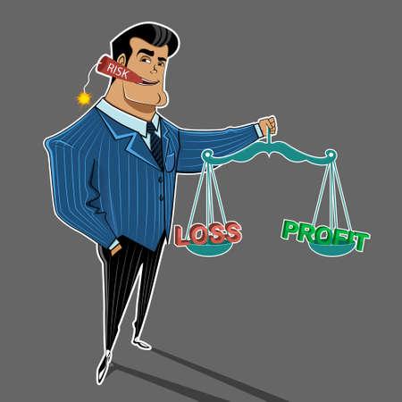 perdidas y ganancias: Un hombre de negocios mantiene el equilibrio en riesgo la pérdida de beneficios