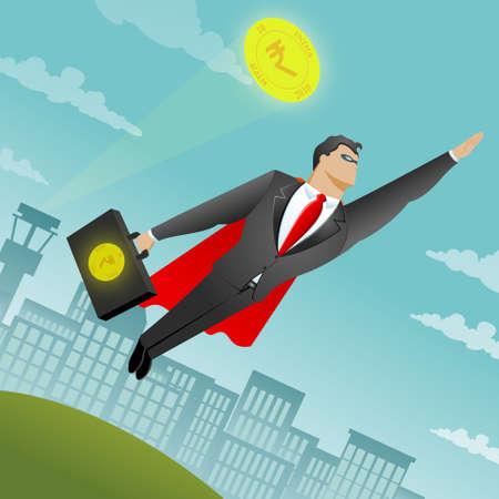 empresario: Hombre de negocios volando como un superhombre con el dinero en su bolsa