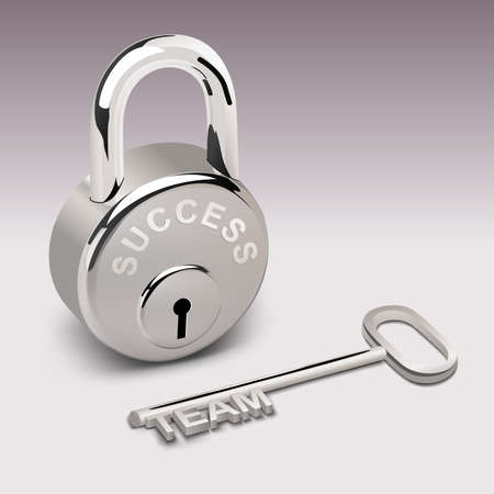 3D look of success lock and key