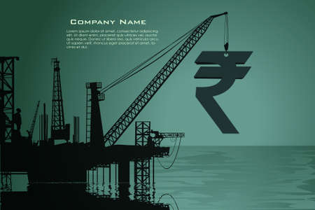 Big rupee symbol production from the refinery in sea
