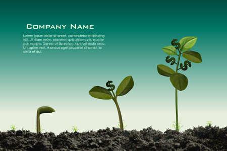 성장: 아름다운 돈을 공장은 과일로 달러 기호와 함께 성장