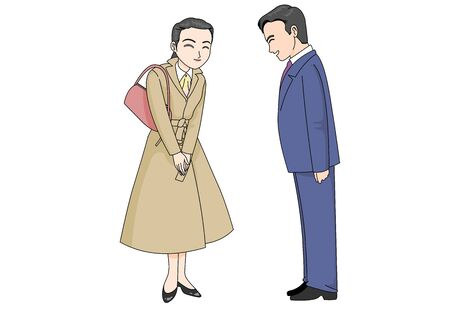 A scene where a man and a female employee greet each other with a gentle smile Illustration