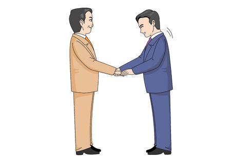 Illustration of an Office Worker Politely Shaking Hands Ilustração Vetorial