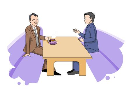 A picture of an office worker explaining to a client or boss.