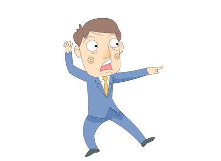 Illustration of a Man Screaming Loudly Pointing to One Side 일러스트