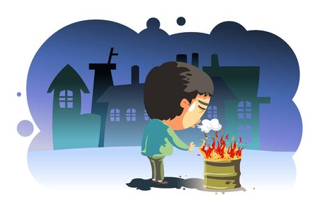 Cold night Standing in front of the fire Worker character illustration