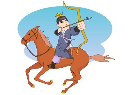 A mature prince On horseback Shooting a bow.