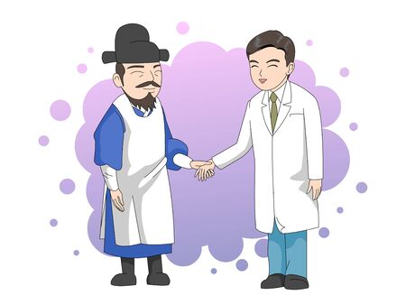 Modern doctors and past doctors smiled and held hands together.