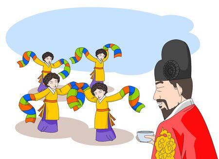 The king enjoys a banquet and dances the dancers. Ilustração