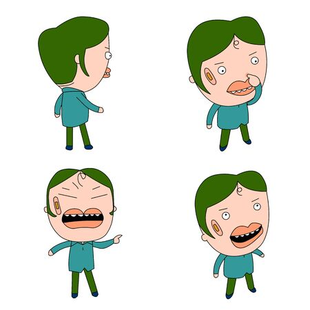 Humorous and comical character, illustration set. Illustration