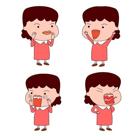 Humorous and comical character, illustration set. 일러스트