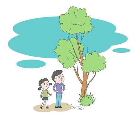 Illustration of dad and daughter looking up at a big tree. Vettoriali