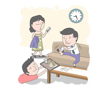 Beschäftigter Morgen, Illustration einer Familie, in der eine Mutter und ein Sohn damit beschäftigt sind, Papa bei der Arbeit zu helfen.