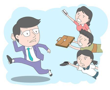 Beschäftigter Morgen, Illustration einer Familie, in der Mama, Sohn und Tochter damit beschäftigt sind, Papa bei der Arbeit zu helfen.
