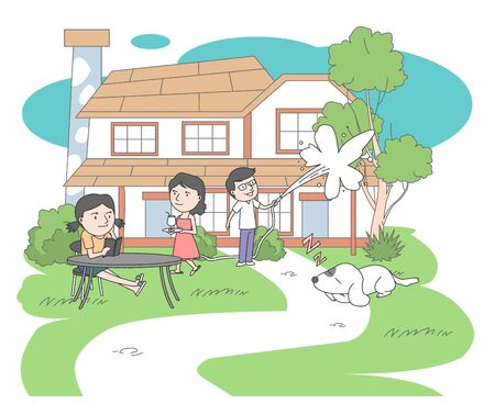 In the garden Dad watering the trees, Daughter reading, Mom who brings water,Peaceful family illustration.