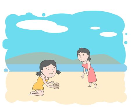 An illustration of a mother and daughter enjoying peace in search of shells on the sandy beach.