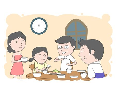 Illustration of a family gathering together for dinner in the evening.