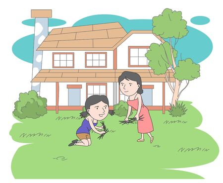 Weeding in the garden Illustration of a peaceful look of a mother and daughter.