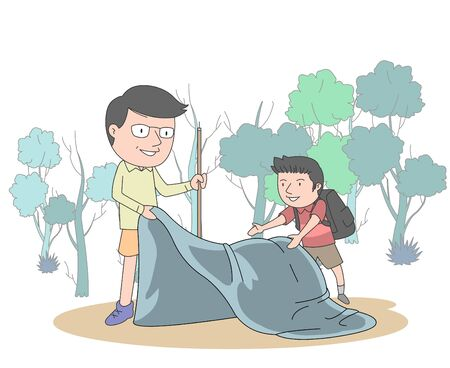 Illustration of a dad and son putting up a tent to enjoy camping in the mountains.