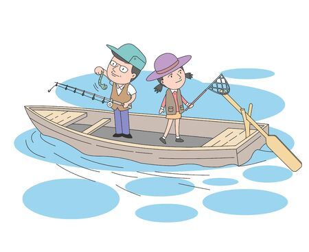 Illustration of dad and daughter enjoying fishing on a wooden boat.