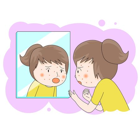 Illustration of a girl looking in the mirror and surprised by the pimples on her