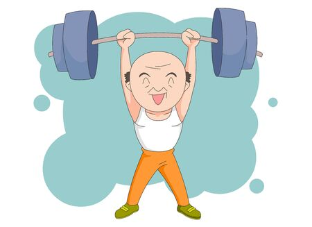 Illustration of a healthy old man lifting heavy weights.